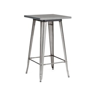 Amalfi Clear Gunmetal Steel Bar Table