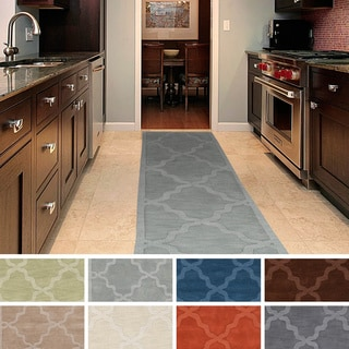 Hand-Woven Amy Tone-on-Tone Lattice Wool Rug (2'3 x 14')