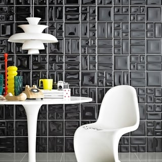 SomerTile 8x8-inch Deco Black Ceramic Wall Tile (Case of 25)