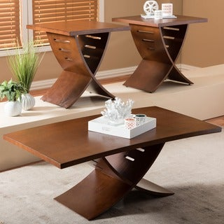 Baxton Studio Helix Wood Contemporary 3-Piece Table Set