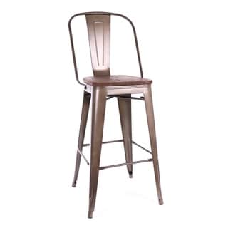 Amalfi Rustic Matte and Elm Wood Seat Steel Bar Chair (Set of 4)