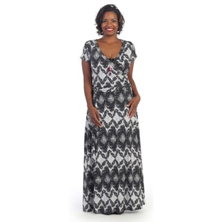 Hadari Plus Abstract Deep V-neck Maxi Dress