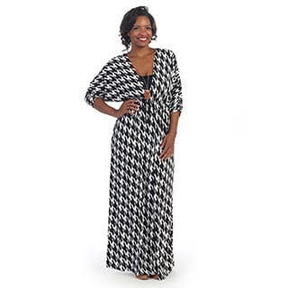 Hadari Plus Dolman Sleeve Houndstooth Deep V-neck Maxi Dress