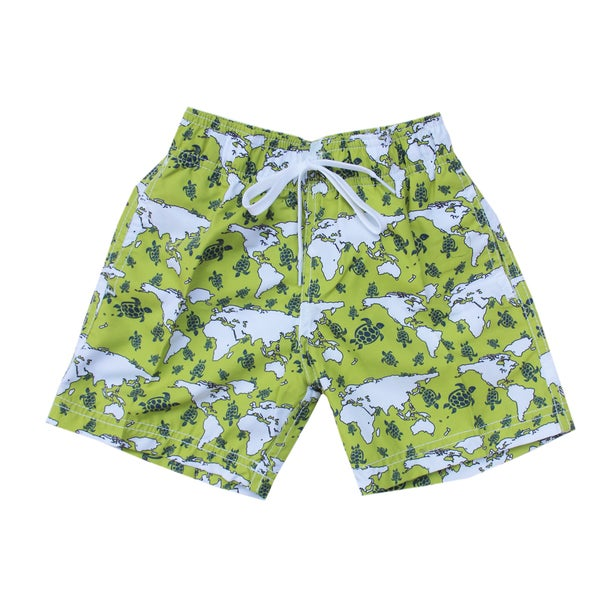 Azul Swimwear Green Turtle World Boys' Swim Shorts