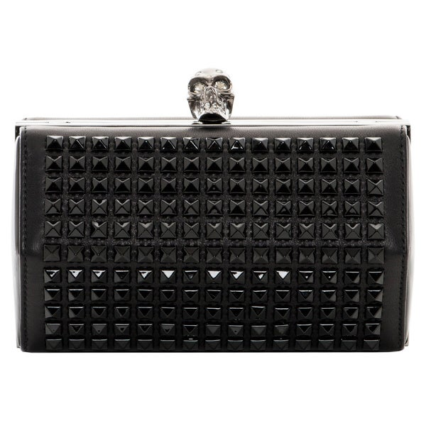 Alexander McQueen Studded Faceted Clutch with Skull Clasp