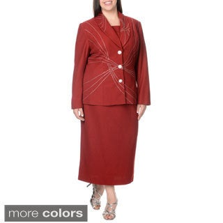 Mia-Knits Collection Women's Plus Size Rhinestone Embellished Skirt Suit