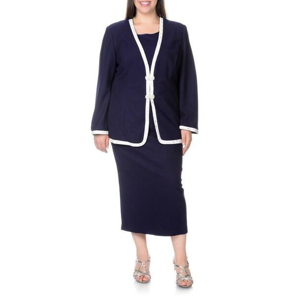 Mia-Knits Collection Women's Plus Size Navy/White 3-piece Skirt Suit