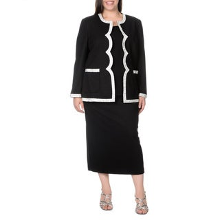Mia-Knits Collection Women's Plus Size Scalloped Edge 3-piece Skirt Suit