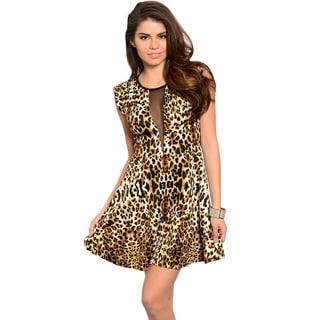 Feellib Women's Cap Sleeve Sheer Mesh Center Panel Allover Leopard Print Skater Style Dress With