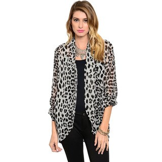 Shop The Trends Women's Long Sleeve Open Front Allover Leopard Print Cardigan Top