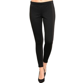 Feellib Women's Combination Quilted Front And Knit Back Design Skinny Pants