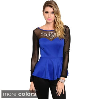Feellib Women's Long Sleeve Sweetheart Yoke Jeweled Chest Accent Top