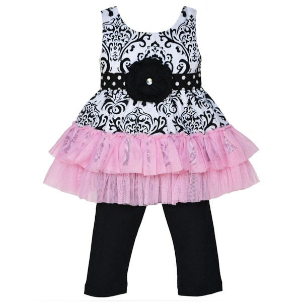 AnnLoren Girls 2-piece Damask and Polka Dot Tulle Tunic Outfit