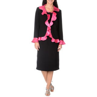 Giovanna Signature Women's Black/ Pink Washable 2-piece Dress Suit