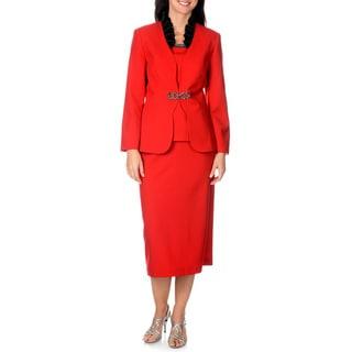 Giovanna Signature Women's Ruffle Collar 3-piece Skirt Suit