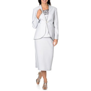 Giovanna Signature Women's Satin Brocade 3-piece Skirt Suit