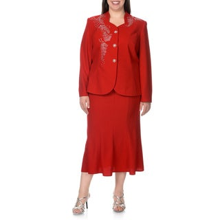 Mia-Knits Collection Women's Plus Size Rhinestone Design 2-piece Skirt Suit