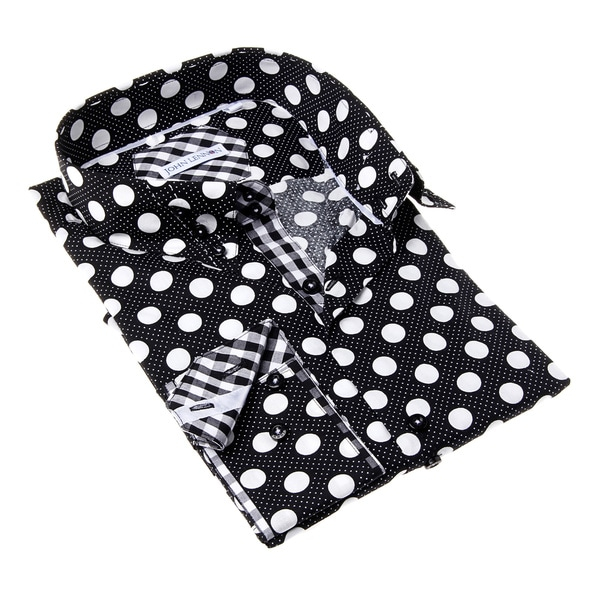 John Lennon Men's Black and White Dot Button-up Sport Shirt