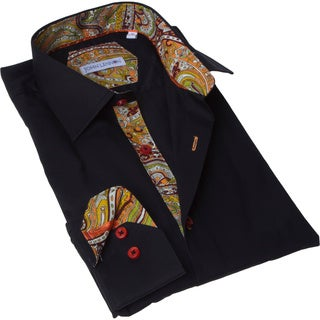 John Lennon Men's Black and Red Solid Button-up Sport Shirt