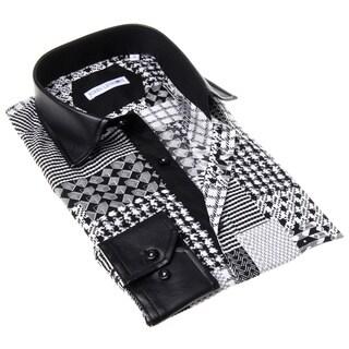John Lennon Men's Black and White Geometric Button-up Sport Shirt