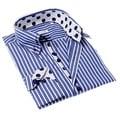 John Lennon Men's Blue and White Stripe Button-up Sport Shirt