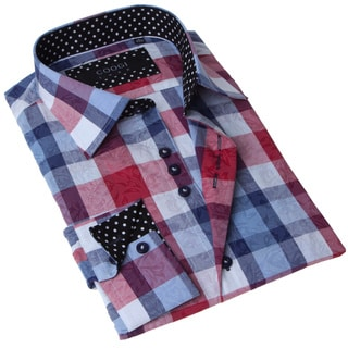 Coogi Luxe Men's Red and Blue Check Button-up Dress Shirt