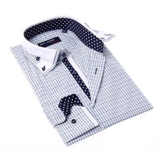 Max Lauren Men's Blue and Grey Check Button-up Dress Shirt