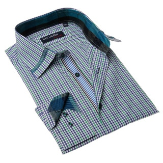 Max Lauren Men's Blue and Green Plaid Button-up Dress Shirt
