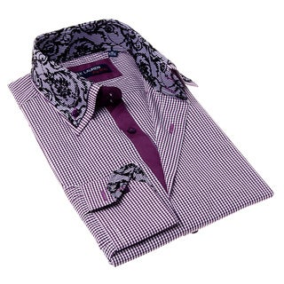 Max Lauren Men's Purple and Black Gingham Button-up Dress Shirt