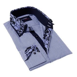 Max Lauren Men's Blue and Black Gingham Button-up Dress Shirt