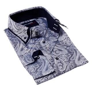 Max Lauren Men's Blue and White Paisley Button-up Dress Shirt
