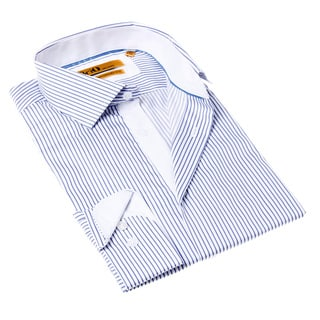 Brio Milano Men's Button-up Stripe White/ Blue Dress Shirt