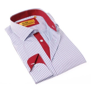 Brio Milano Men's White and Red Stripe Button-up Dress Shirt