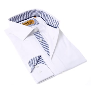 Brio Milano Men's Button-up Solid White/ Blue Dress Shirt