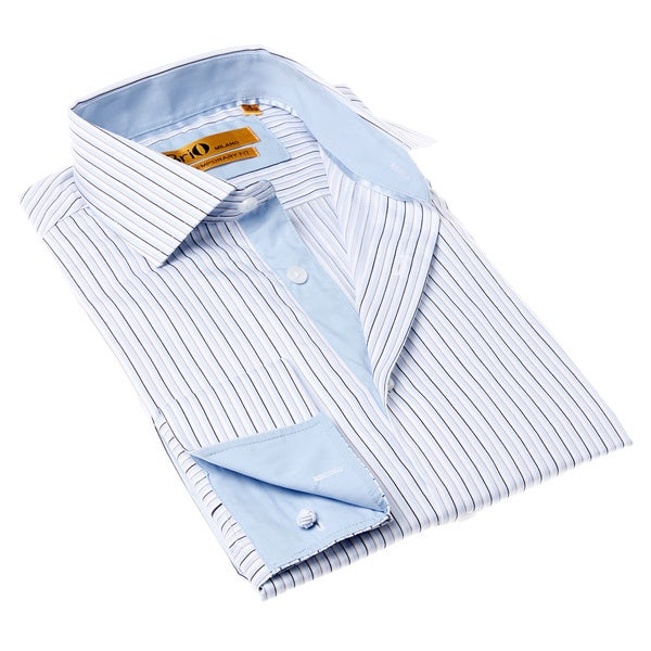 Brio Milano Men's Stripe Button-up Blue/ White Dress Shirt 14397112