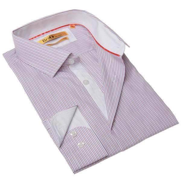 Brio Milano Men's White and Orange Stripe Button-up Dress Shirt