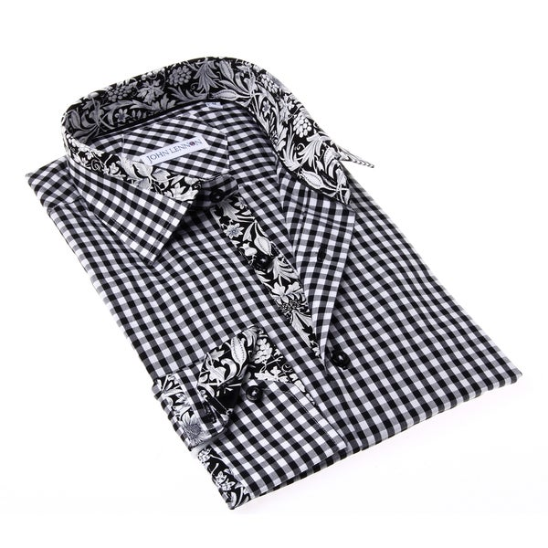 John Lennon Men's Black and White Gingham Button-up Sport Shirt