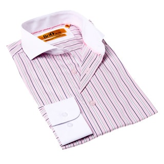 Brio Milano Men's Pink and White Stripe Button-up Dress Shirt