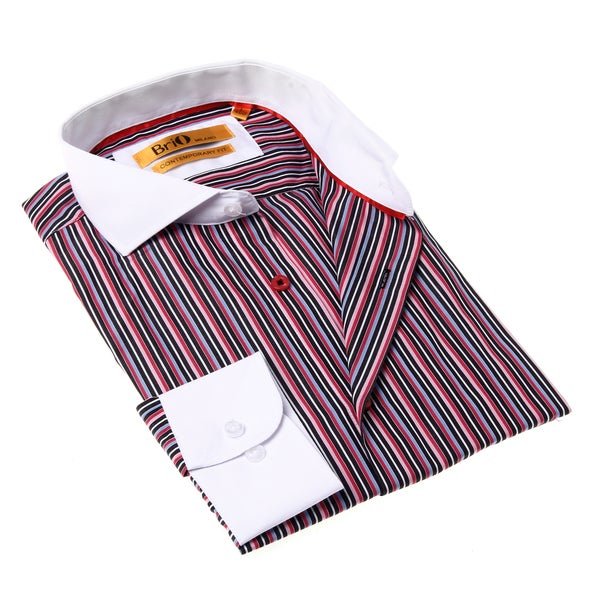 Brio Milano Men's Red and Black Stripe Button-up Dress Shirt