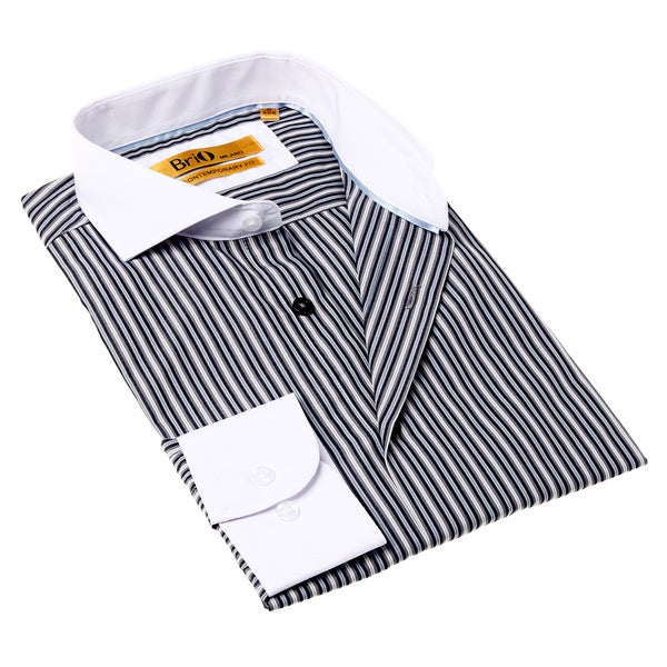 Brio Milano Men's White and Black Stripe Button-up Dress Shirt