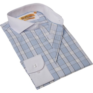 Brio Milano Men's Blue and White Check Button-up Dress Shirt