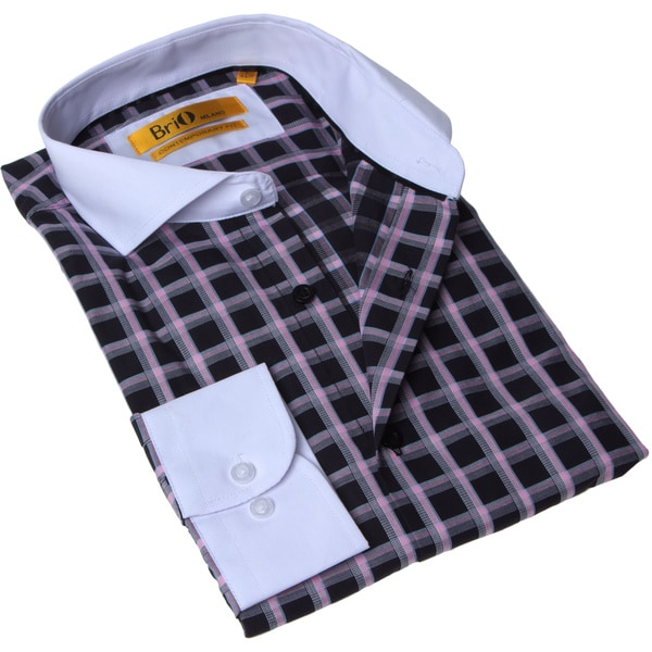 Brio Milano Men's Black and Pink Check Button-up Dress Shirt