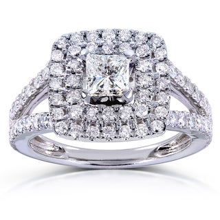 Annello 14k White Gold 1 1/4ct TDW Princess-cut Double Halo Diamond Engagement Ring (H-I, I1-I2)