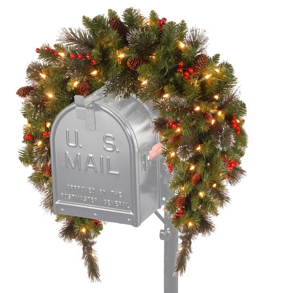 3-feet Crestwood LED Spruce Mailbox Cover with Silver Bristle, Cones, Red Berries and Glitter