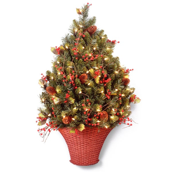 3-foot Classical Collection 100 Clear Lights Half Tree with Red Berries, Cones and Holly Leaves