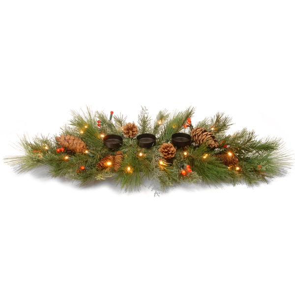 30-inch Decorative Collection White Pine Candle Holder Centerpiece with 45 White/ Red LEDs