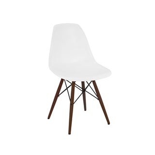 Mid-century White Side Chairs with Walnut Wood Base (Set of 5)
