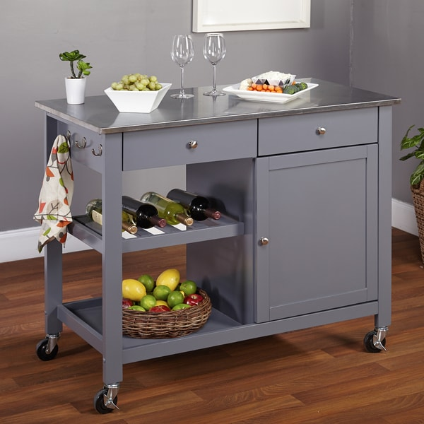 Simple living columbus grey kitchen cart with stainless steel top overstock shopping great - Overstock kitchen islands ...