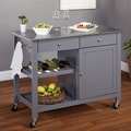 Simple Living Columbus Grey Kitchen Cart with Stainless Steel Top