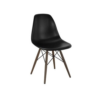 Mid-century Black Side Chairs with Walnut Wood Base (Set of 5)